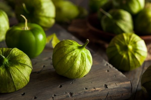 homemade salsa anchored by grilled tomatillos